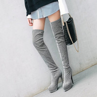 PXELENA 5 Colors Sexy Stretch Fabric Thigh High Boots Women ...