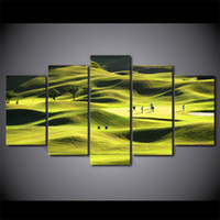 HD Printed 5 Piece Canvas Art Golf Course Painting Green Hil...