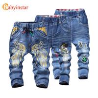 Babyinstar Crianças Meninos Calças Jeans 2017 Padrão de asa Dos Desenhos Animados Casual Primavera Outono Calça Jeans para Crianças Calças Jeans Da Menina