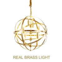 Tasarımcı Showroom Lüks Pirinç Kolye Lambaları Bakır Modern Altın Asılı Işık Lambası Led Yüzük Küresel Topu LED