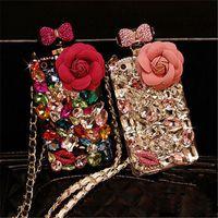 Luxe bling bling diamant cristal strass fleur lanière bouteille de parfum cas pour iphone x 8 7 6 s plus samsung s9 s9 plus s8 note8