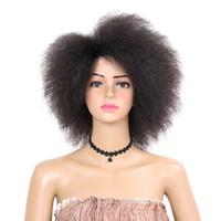 Moda 6 pulgadas Kinky Curly corto afro pelucas 6 pulgadas naturaleza negro peluca sintética para mujer 90g