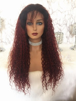 Brazilian Deep Curly Lace Front Wig Remy Hair Ombre 1B 99j C...
