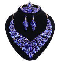 Orecchini collana di cristallo strass braccialetto colore oro Anello regolati per le donne set di gioielli da sposa di lusso di nozze