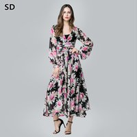 be51f36438 SD 2018 New Arrivals maxi dresses Chiffon Print Robe for women Spring plus  size Boho night Dress Ladies Elegant Vestidos W79