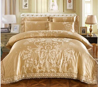 Sliver Golden Luxury Queen King size bedding sets Lace Silk ...