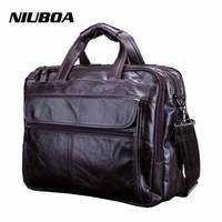 NIUBOA Nueva Moda de Cuero Genuino Bolso de Los Hombres 100% Bolso de hombro de cuero de Vaca Natural Messenger Pack Causal Bolso Masculino Portátil Maletín