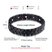 Braccialetto di energia nero sano uomini braccialetto punk maglia link gioielli in acciaio inox braccialetti con magnete fascino per gli uomini all'ingrosso di gioielli