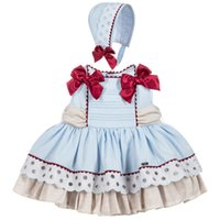 DHL ücretsiz Yüksek kalite İspanya tarzı bebek kız elbise yuvarlak yaka kolsuz prenses elbise + şapka setleri Doğum Günü elbise 2-6 T