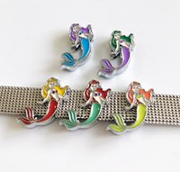 10 PCs 8mm Émail Petite Mermaid Slide Charms Fit 8mm Pet Chien Collier Nom Ceintures Tags Bracelets Bandes