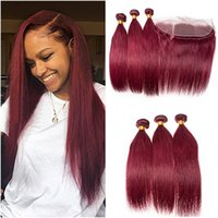 Brazilian Wine Red Human Hair 3 Bundles Deals with Frontal S...