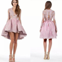 New Pink High Low Homecoming Dresses Custom Made A Line Long...