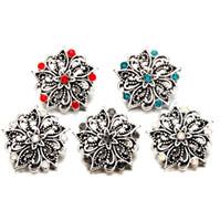 Vintage Kristal 18mm Snap Düğmesi Takı Bohemia Hollow Çiçek Noosa Topakları DIY Zencefil Snap Düğmesi Takılar Bilezik Kolye Lover