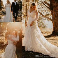 Elegant Lace A Line Trouwjurken V-hals Lange Mouwen Empire Crystal Plus Size Bruidsjurken Moederschap Bruidsjurken Sweep Trein