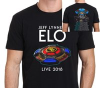 Jeff Lynne Ft ELO Tour Mens Black Cotton T- Shirt Letter Prin...