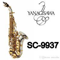 العلامة التجارية Instrumentyanagisawa SC-9937 منحني المهنية السوبرانو ساكسفون الجدرانيات نحاس ساكس بقع بقع منصات القصب بيند الرقبة