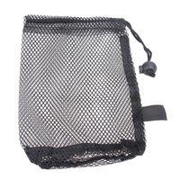 Black Nylon Mesh Net Bag Pouch Golf Tennis 48 Balls Holder Hold Ball Storage Closure Training Aid