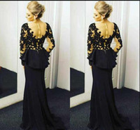 2018 Elegant Black Lace Mermaid Prom Dresses Deep V Neck Lon...