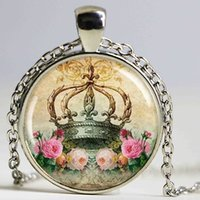 Collana Crown Art, Charm pendente in resina, Royal Crown Jewelry, Picture Pendant, Round Silver, Crown Charm