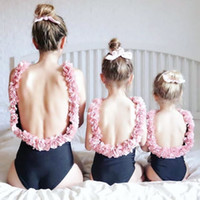 INS Girls flowers backless swimwear mommy and me one- piece s...