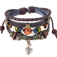 Handmade Boho Gypsy Hippie Design Brown Leather With Star Note Metal Charms Wood Button  Wrap Unisex Adjustable Bracelet