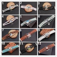 Mode 10st / Lot Leather Horse Snap Armband Vintage Kvinnor Smycken Charm Mönster Glas Handgjorda Vävt Multi-Layer Kombination Bangle Presenter