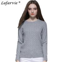 Maglione Lafarvie Autunno Inverno Maglione lavorato a maglia misto cashmere Donna Top O-Collo Qualità manica lunga Pullover tinta unita