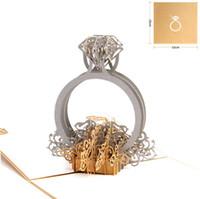 Corte láser de oro anillo de diamante 3d Pop Up invitaciones de boda Día de San Valentín romántico hecho a mano para el amante Tarjeta de regalo de felicitación SN2043