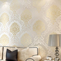 2015 Non woven 3D floral Flocking damask Wallpaper Roll, Mode...