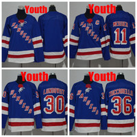 Jugend New York Rangers 30 Henrik Lundqvist Eishockeytrikot Kinder 11 Mark Messier Jersey