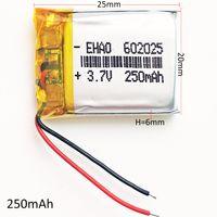 الجملة 3.7 فولت 250 مللي أمبير بطارية ليثيوم بوليمر يبو ليثيوم أيون قابلة خلايا الطاقة ل mp3 mp4 سماعة بلوتوث dvd فيديو القلم 602025