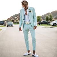 2018 Mint Blue Mens Cuve Slim Fit Deux Morceaux Beach Groomsmen Mariage Tuxedos for Hommes Costume de promenade de bal de revers (veste + pantalon)