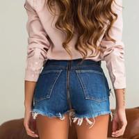 WannaQuesto pantalone di jeans strappato donna blu posteriore Zipper Jeans sfilacciato Mini classico di colore blu Jeans tasca sexy estivo Vintage Pantaloncini