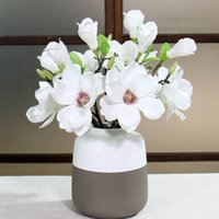 5pcs Artificial Flowers Silk Magnolia Wedding Home Decoratio...