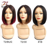 Short Bob Style Machined Made Human Hair Wigs 10 Inch Ombre ...