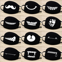 Fashion Cartoon Pattern Solid Black Cotton Face Mask Cute 3D...