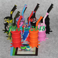 Bangs en silicone pour narguilés colorés avec tuyau de verre au-dessus de verre et tige de silicone, raccord de fixation de 14 mm, tout clair 4mm