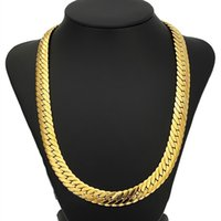 Curb Cuban Gold Color Chain For Men 18K Heavy Charming Fine ...