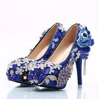 고급스러운 푸른 다이아몬드 꽃 웨딩 신발 꽃 체인 펌프 하이힐 신부 신발 8cm 11cm 14cm 블링 블링 댄스 파티 신발 레이디에 대 한 블링
