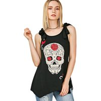 European and American fashion sexy summer skull printed back...