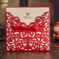Hochzeits-Karten-Einladung 2017 Laser-Schnitt-Hochzeits-Einladungen Taschen Vintage elegante Geburtstags-Party Einladungs-Karte 50 Stück