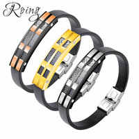 Roing Men ID Bangles Motorcycle Chain Bracelet Punk Stainles...