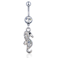 D0282 (2 colori) The Seahorse Style Belly Belly Bottone Anelli dell'ombelico con Mix