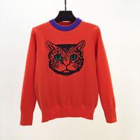 2018 осень новый дизайн женская o-образным вырезом с длинным рукавом cat Head вышивка красный цвет свитер пуловер перемычки топы трикотаж