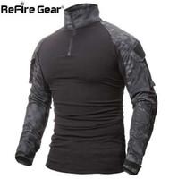 ReFire Gear Camouflage Armée T-Shirt Hommes US RU Soldats Combat Tactique T Shirt Force Militaire Multicam Camo À Manches Longues T-shirts