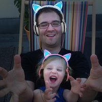 Funny Cosplay Cat Ear Foldable Flashing Glowing Children...