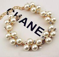 Bracciale in strass placcato oro Bracciale con perline retrò europeo e americano, con perline retrò a468