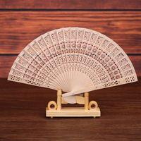 Ventaglio artigianale in legno intagliato a mano pieghevole Ventaglio classico cinese in legno per decorazione domestica Artigianato Souvenir Regali bomboniere