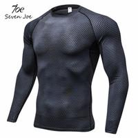 세븐 조 새로운 압축 셔츠 긴 소매 T 셔츠 체육관 피트니스 의류 인쇄 빠른 드라이 보디 빌딩 크로스 핏 라이크라 탑스