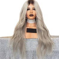 New Cosplay 180% Density Long Body Wave Wigs Ombre Gray Lace...